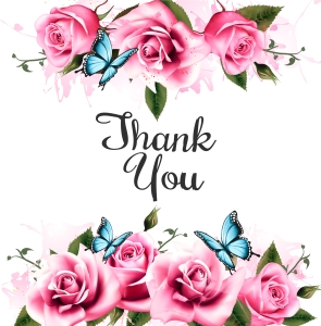 Thank You background with beautiful roses and butterflies. Vector